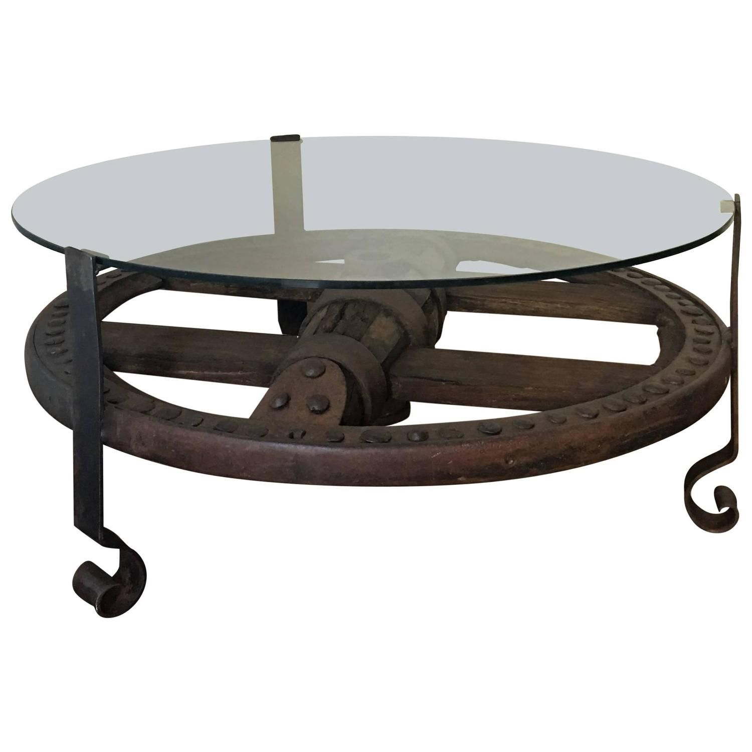 Glass Top Wooden Wagon Wheel Indutrial Accent Table - See