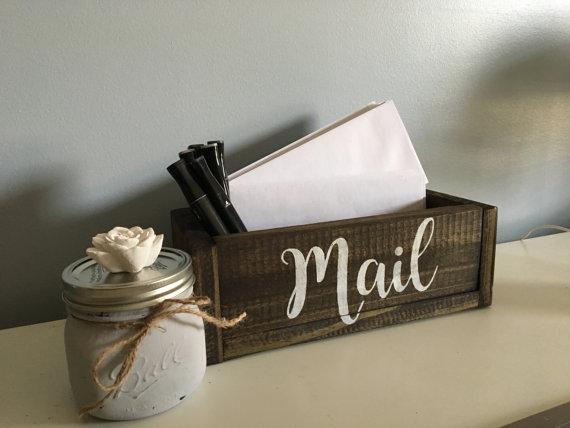 Mail Box Wood Mail Box Mail Storage Planter Mail Box Mail