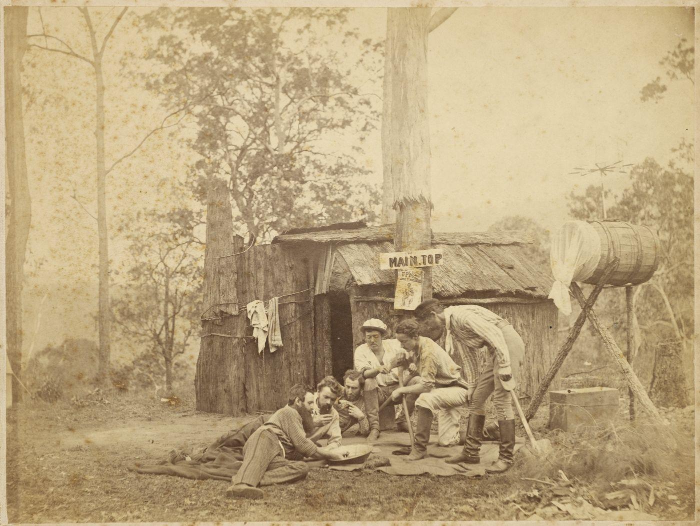 Digging for gold. Australia. ca. 1870