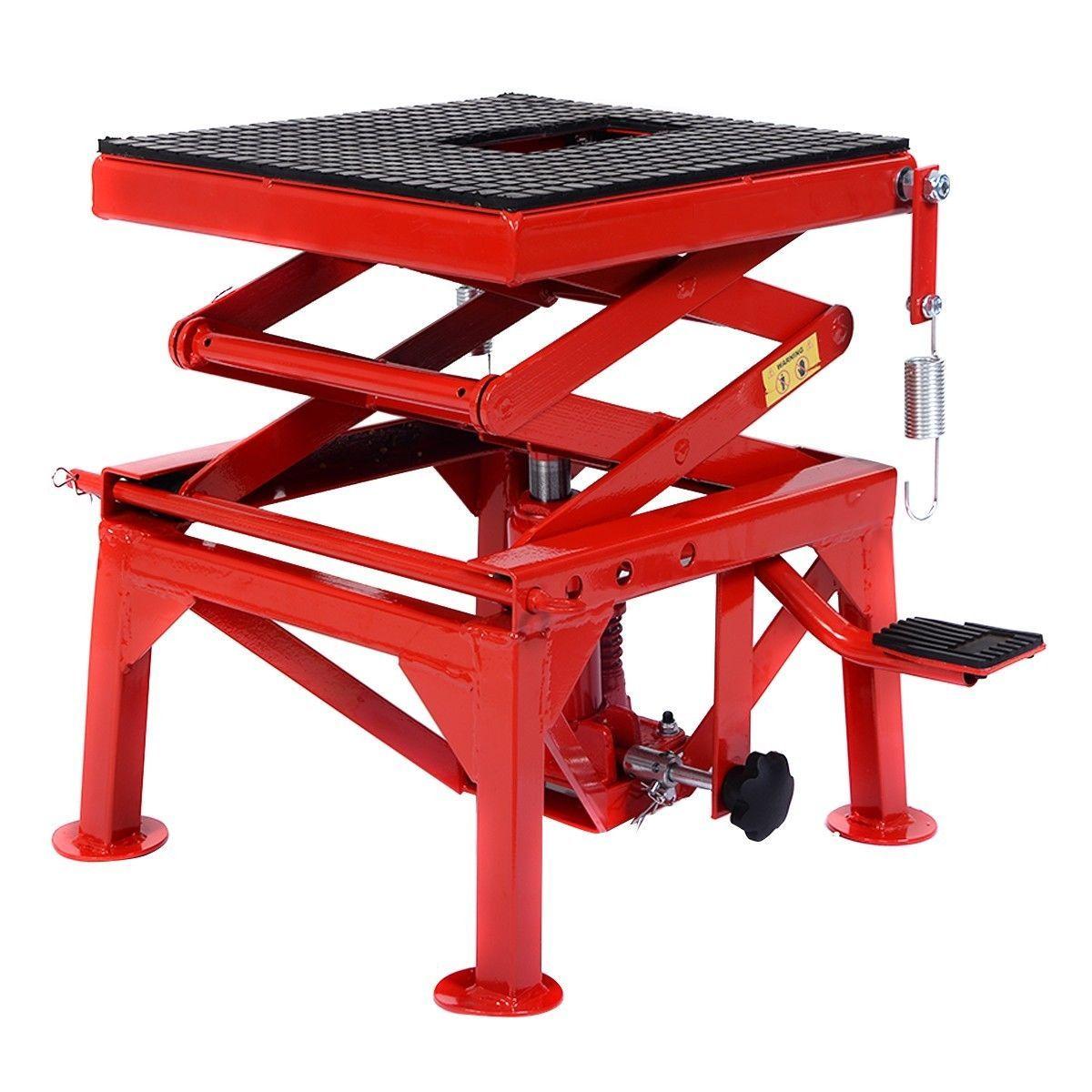 300lb motorcycle hydraulic scissor floor jack lift hoist center stand lift