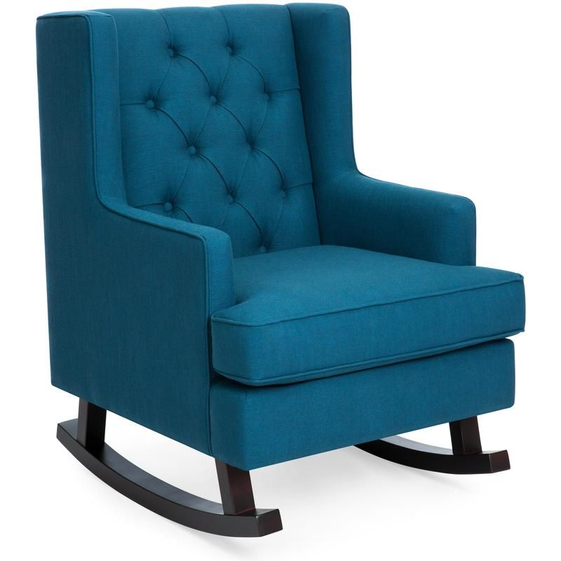 Tufted Upholstered Wingback Rocking Chair In 2020 Rocking Chair