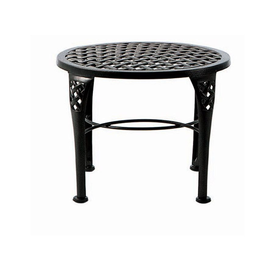 Basketweave Round End Table 189 Hauser Backyard