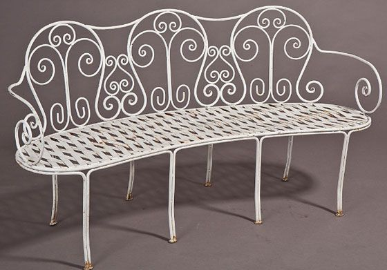Antique French Curved Iron Bench Great Inside Or Outside The