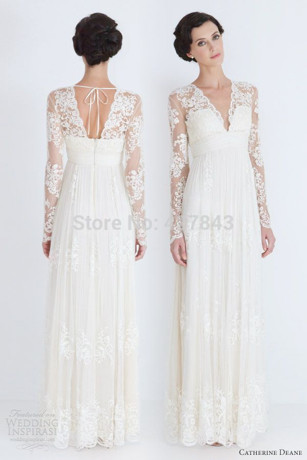 Simple A Line Lace Long Sleeves Bohemian Wedding Dress Backless Chiffon Boho Summer Vestido De Noiva Praia