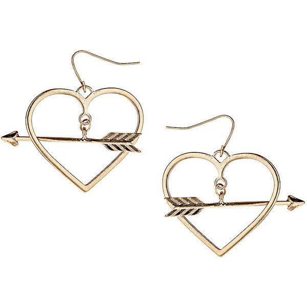 Top Arrow Through Heart Earrings 18 Liked On