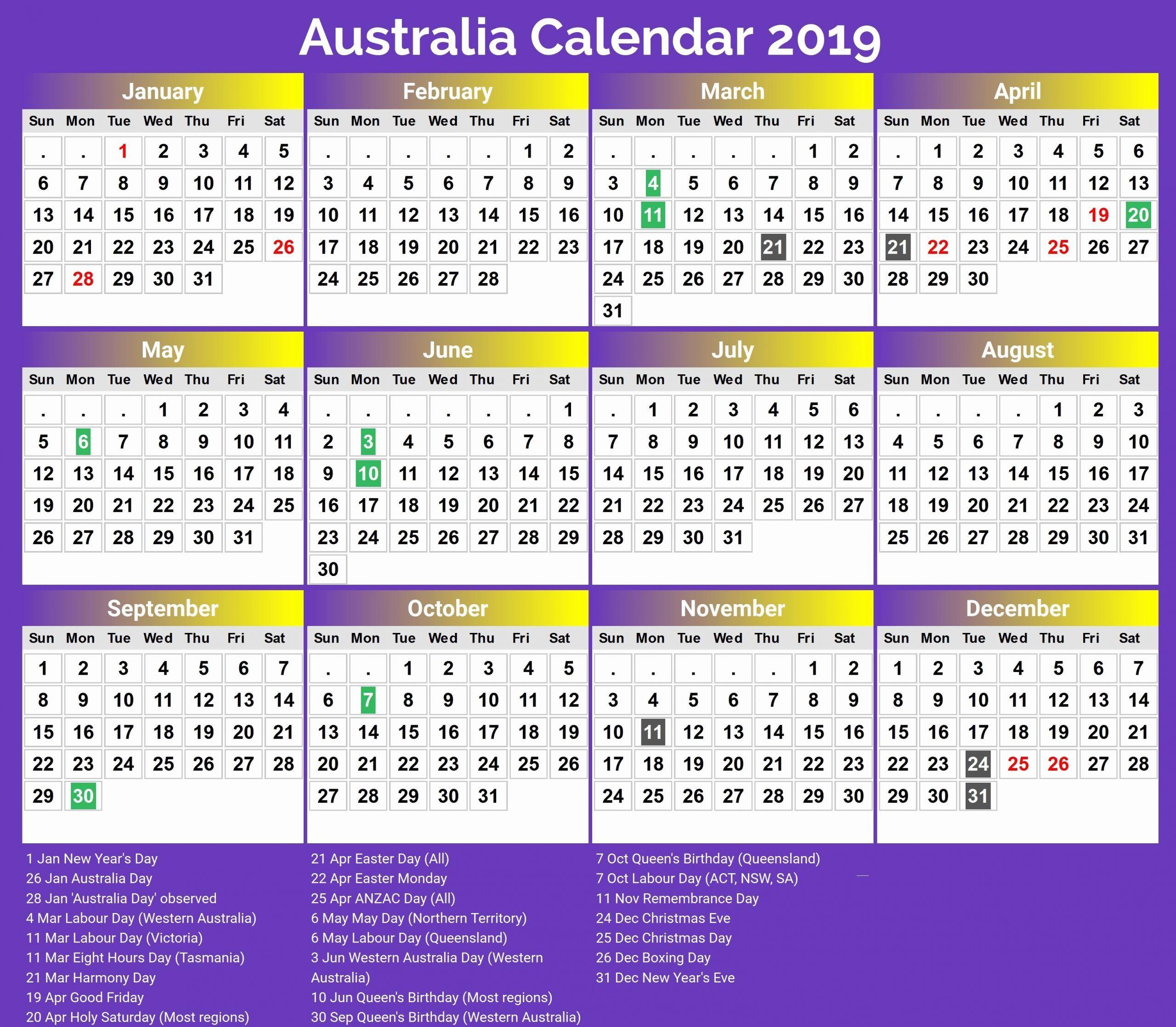 Printable Calendar Queensland 2019 In 2020 Calendar 2018 Printable Calendar 2020 Printable Calendar