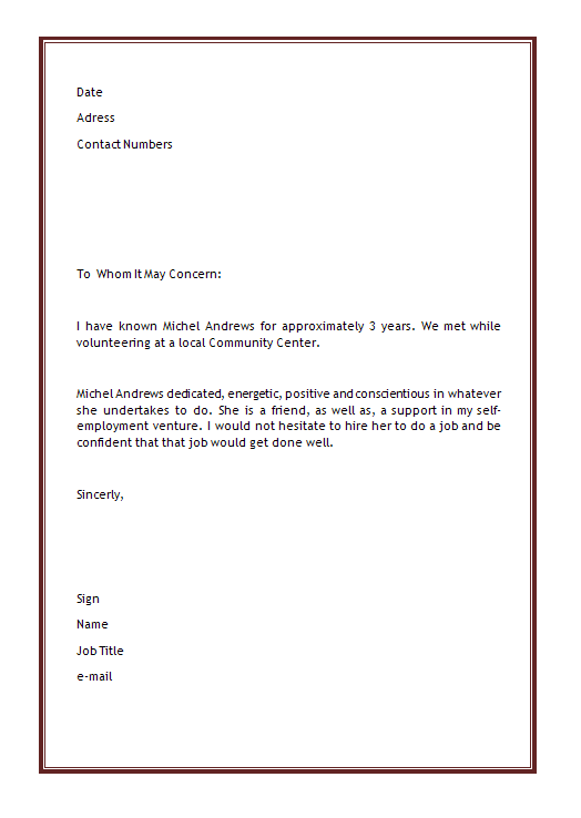 Personal Letter Of Recommendation Template    Microsoft Word