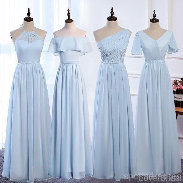 Cheap Pale Blue Floor Length Mismatched Chiffon Bridesmaid Dresses Online, WG538