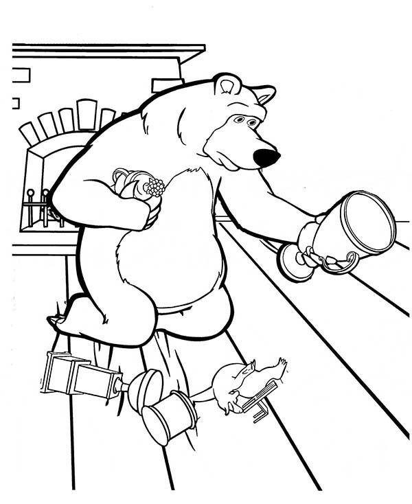 Mischa Collecting His Trophy On The Floor In Mascha And Bear Coloring Pages Bulk Color Bear Coloring Pages Coloring Pages Masha And The Bear