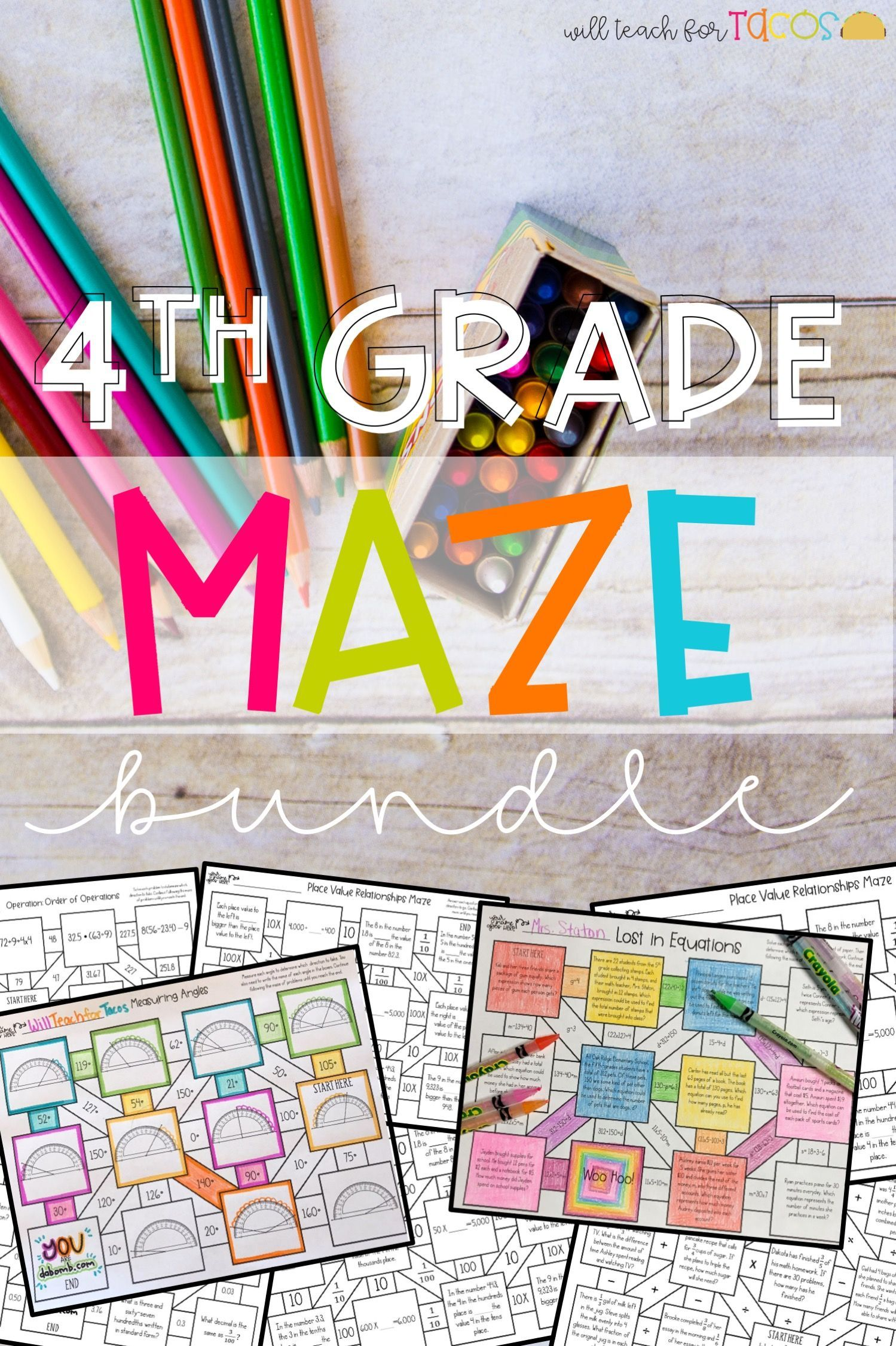 4th Grade Math Maze Bundle