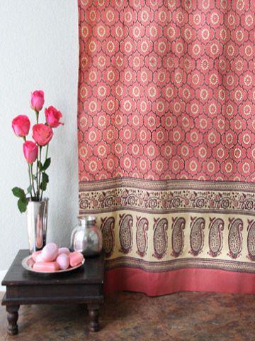 India Rose Luxury Pink Floral Indian Sari Print Shower Curtain