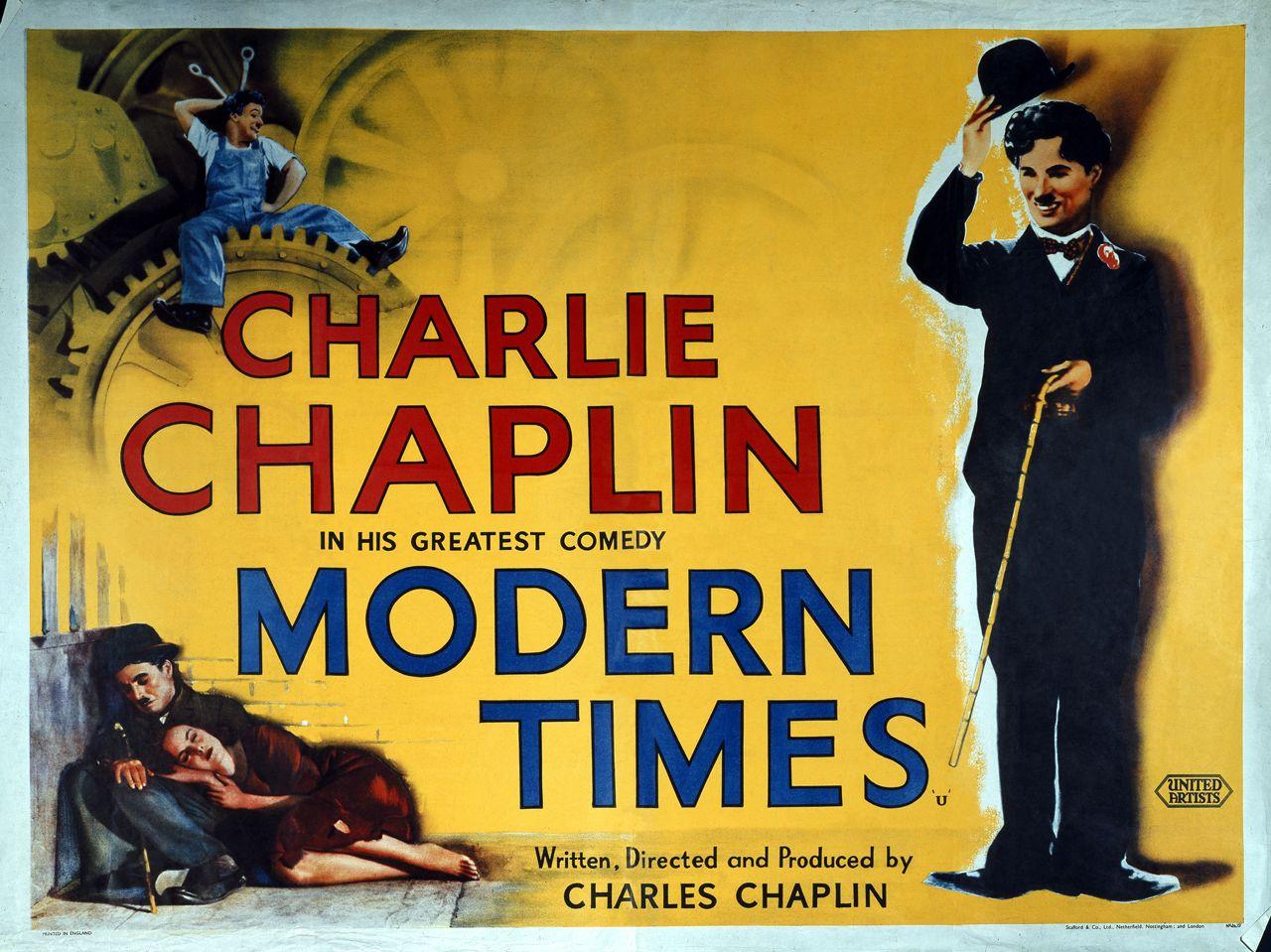 Modern Times 1936 Lobby Card Charlie Chaplin Movies Charlie