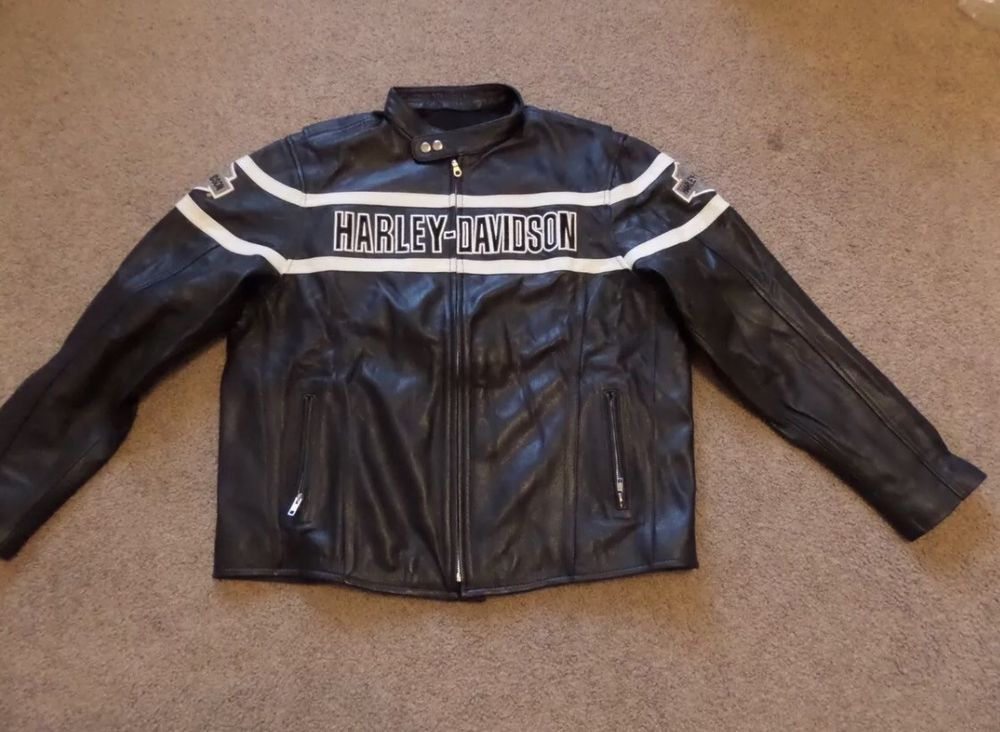 VICTORY LANE LEATHER JACKET ONE OF A KIND BLACK WITH WHITE