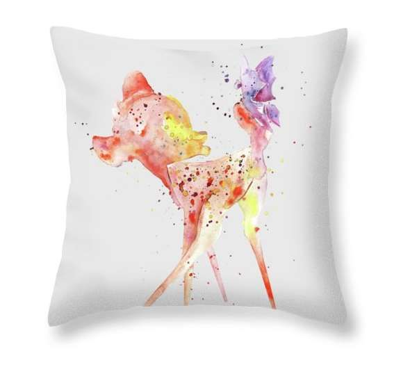 Throw Pillow Bambi Erfly Cartoon Disney Nursery Room Decor