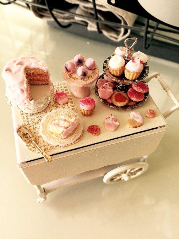 Dollhouse miniature filled Valentines tea cart by Kimsminibakery