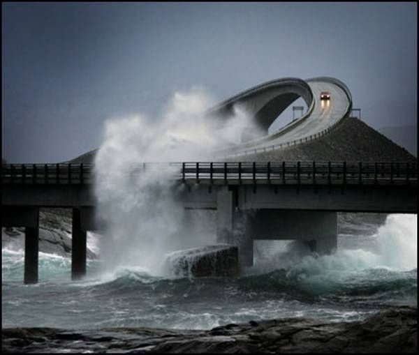 "The Atlantic Road (Photo by Giorgio Ghezzi )    Atlanterhavsveien was voted ""Norwegian Construction of the Century"" on 27 September 2005. The road's sharp turns and wild nature have ranked it first on The Guardian's list of the world's best road trips. Even in bad weather condition it stays open, which can be a thrilling experience."