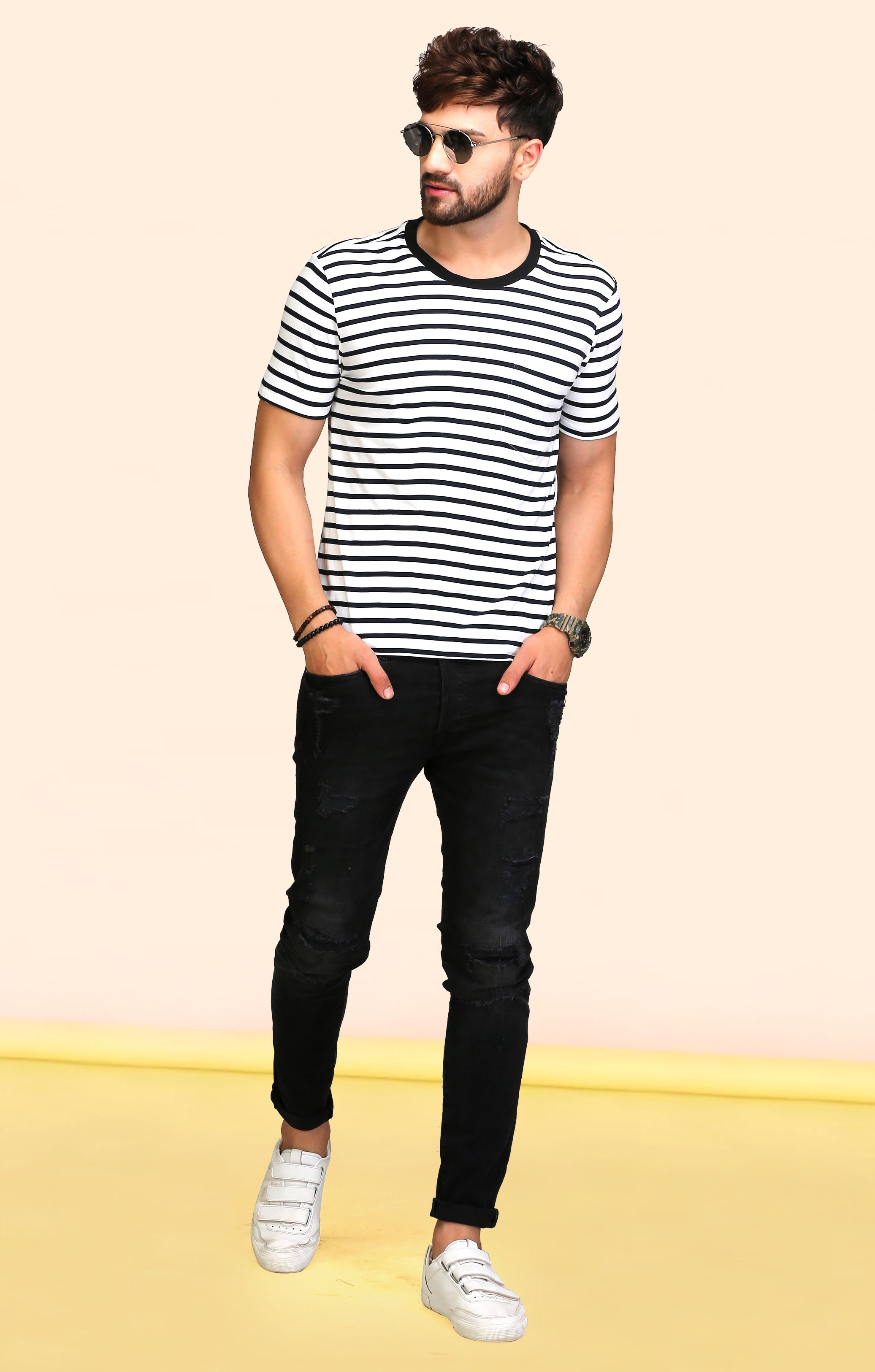 96369982 Striped Navy Blue Round Neck T Shirt in 2019   The Wardrobe Story ...