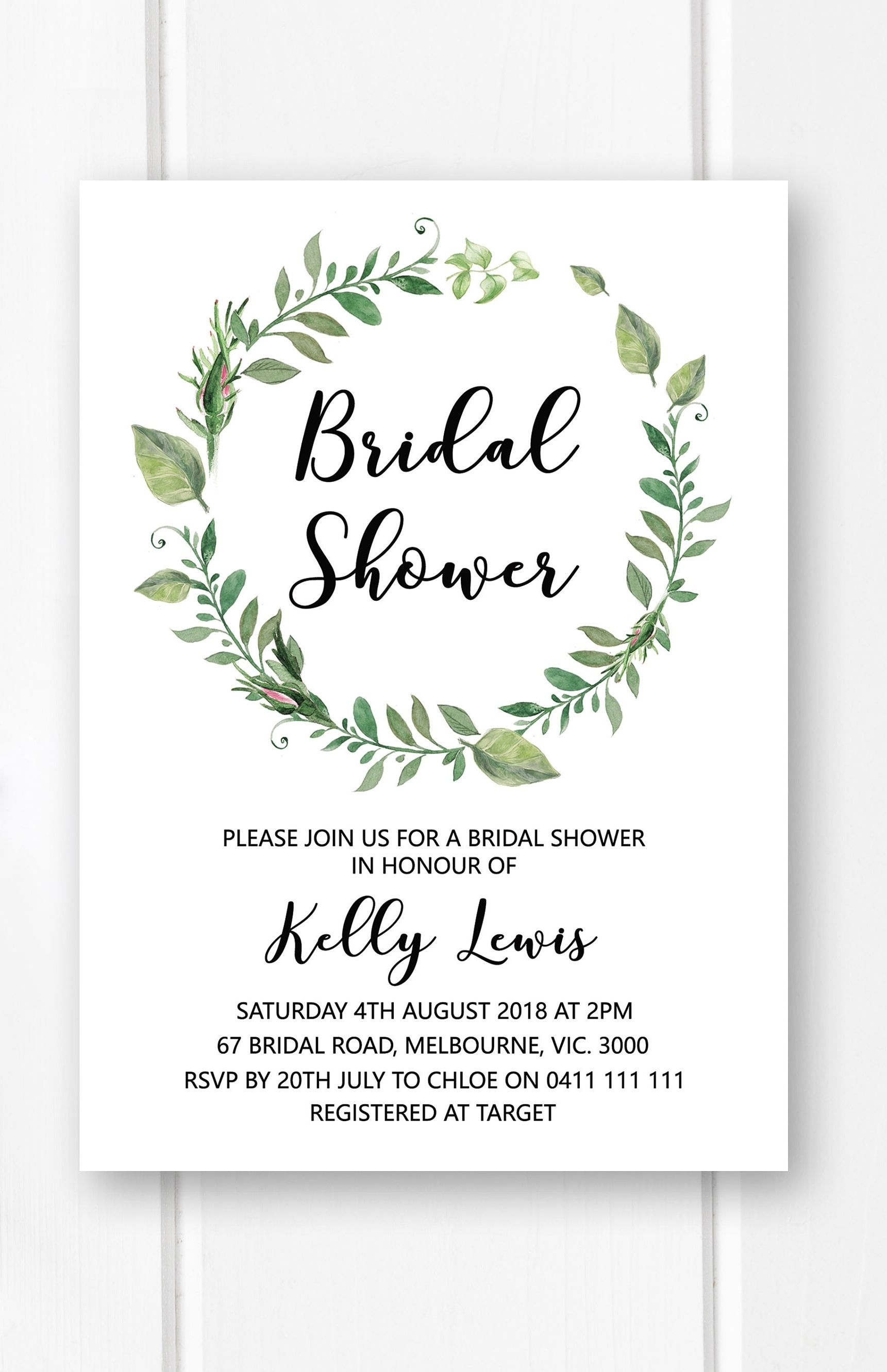 Greenery bridal shower invitation printable bridal shower invites greenery bridal shower invitation printable garden bridal shower ideas wreath bridal shower invite from filmwisefo