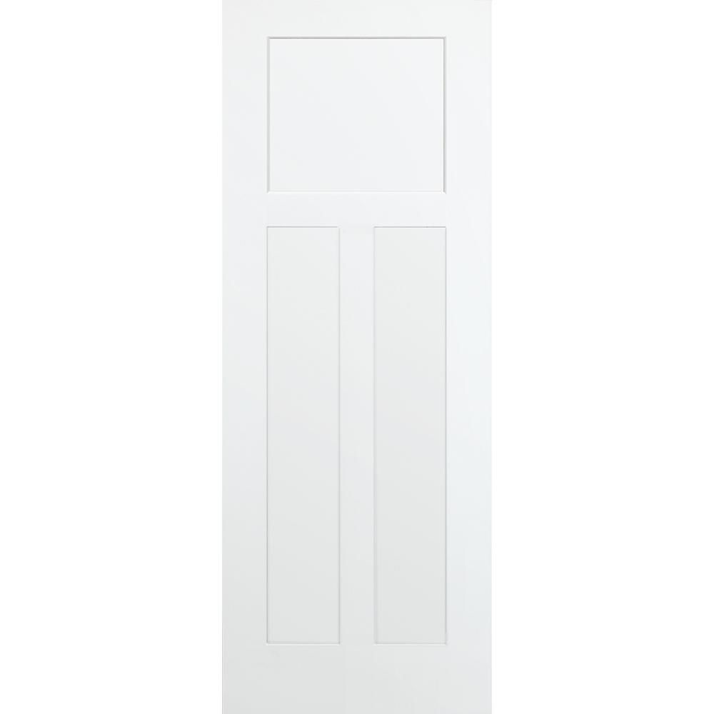 Steves Sons 36 In X 80 In 3 Panel Mission Shaker White Primed Solid Core Wood Interior Door Slab Q64mdnnnlc99 Solid Core Interior Doors Primed Doors Tall Cabinet Storage