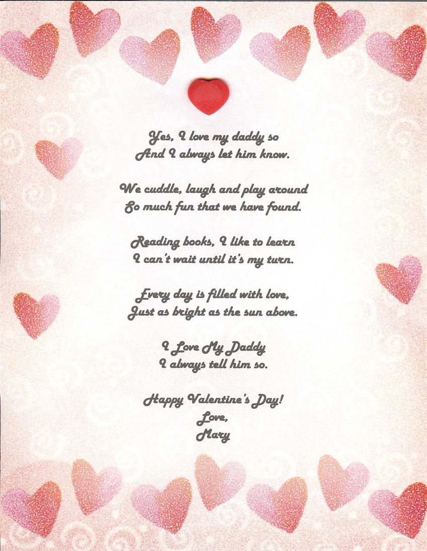 Valentine's Day can be about family, such as your Dad, too! #Poundworld # Valentines #ValentinesDa… | Romantic love poems, Valentines day poems, Love  poem for her