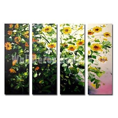 Hand-painted Oil Painting Floral Oversized Wide - Set of 4