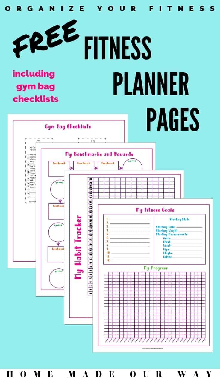 Organize your fitness with these simple and free printables.   planner   habit tracker   checklist  ...