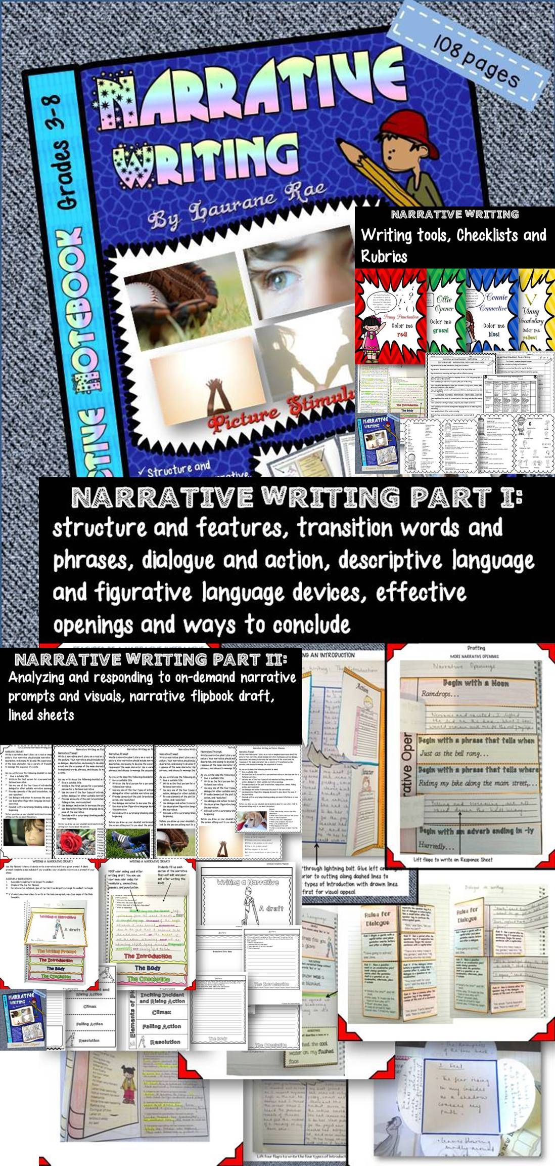 To weave a compelling story is indeed an Art in its own kind and with the structured and scaffolded lessons this unit offers, your students will be able to do just that. Mini lessons target use of transitions, description, figurative language, and dialogue to control pacing, in addition to effective ways to begin and conclude narratives. $