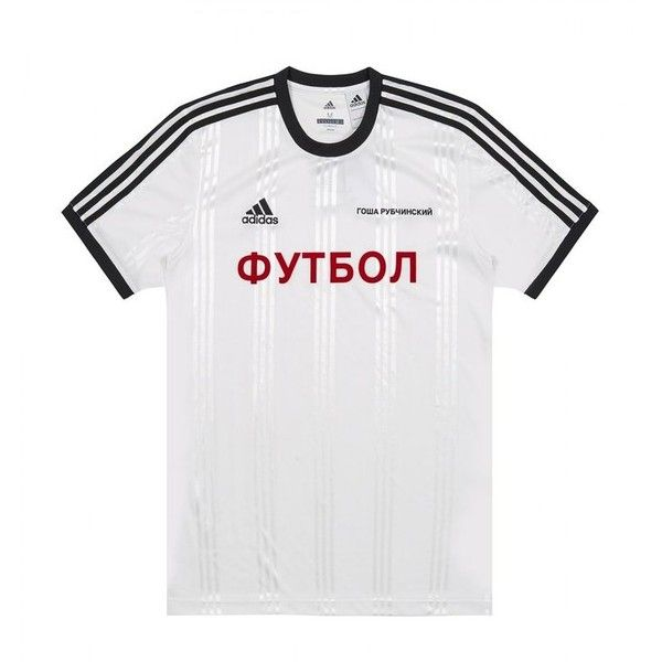 ed5b7fad80d GOSHA RUBCHINSKIY X ADIDAS JERSEY T-SHIRT (G011T101C) ($155) ❤ liked on  Polyvore featuring tops, t-shirts, white t shirt, white jersey t shirt,  adidas t ...
