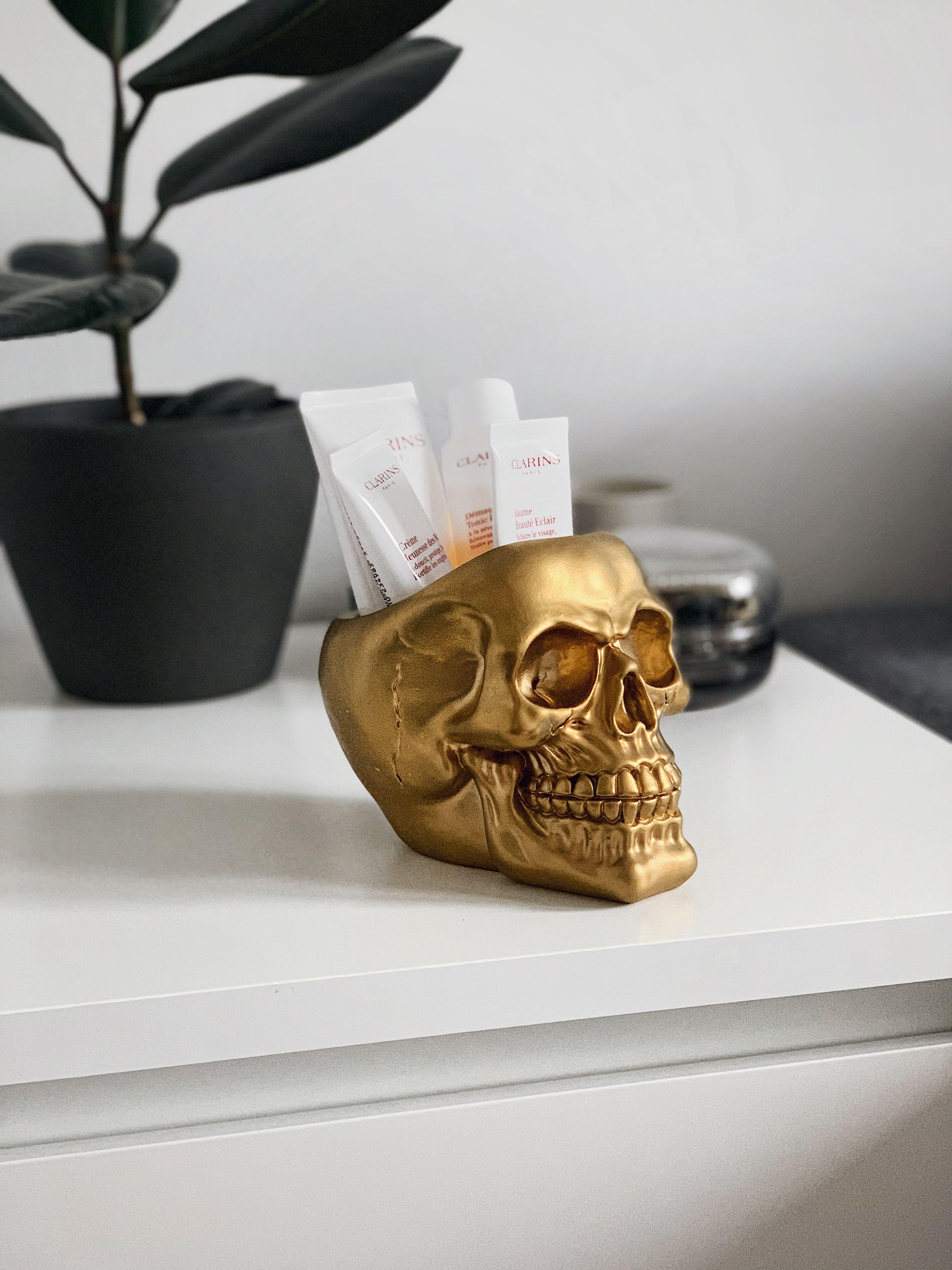 Skull Makeup Brush Holder Gold Skull Planter Makeup