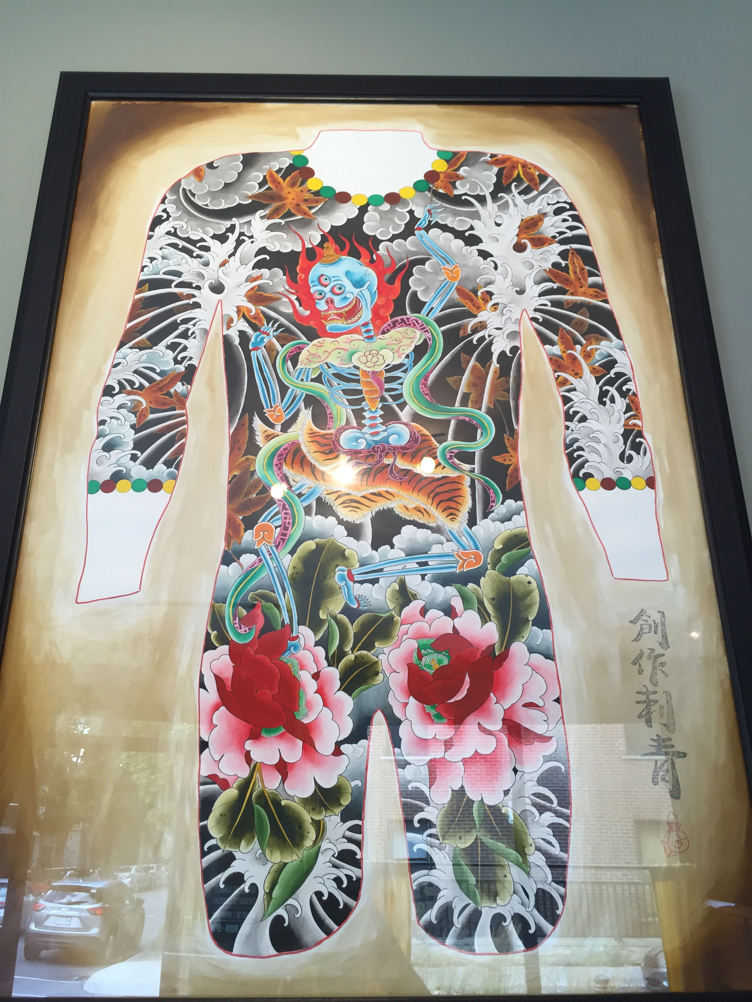 Laughing Tibetan Skeleton , Peony and wave Original for sale 1.2 million can