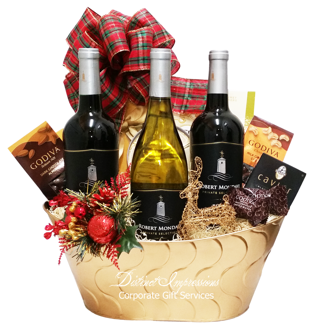 Happy Holidays Robert Mondavi Wine Gift Basket Wine Gift