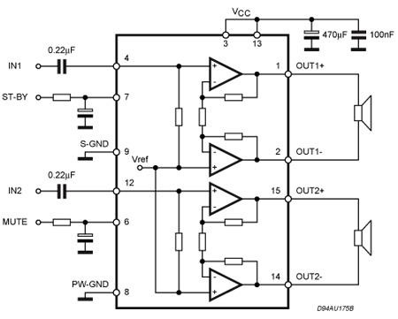 tda7266 7 w 7 w dual bridge amplifier stmicroelectronics diy audio electronics diy. Black Bedroom Furniture Sets. Home Design Ideas