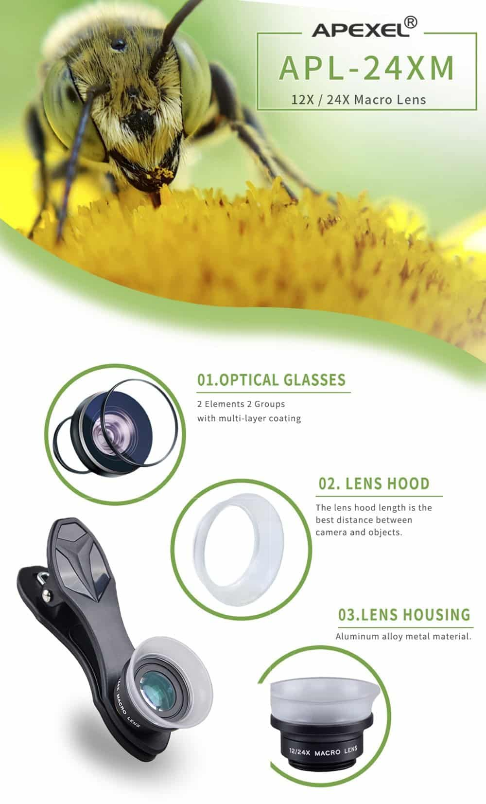 Apexel 12x 24x Macro Lens For Smartphone Macro Lens Smartphone Price Lens
