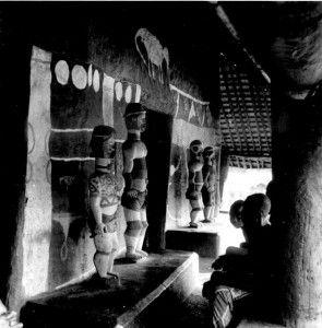 Figures along the  wall of the obu meeting house, Asaga Ohafia