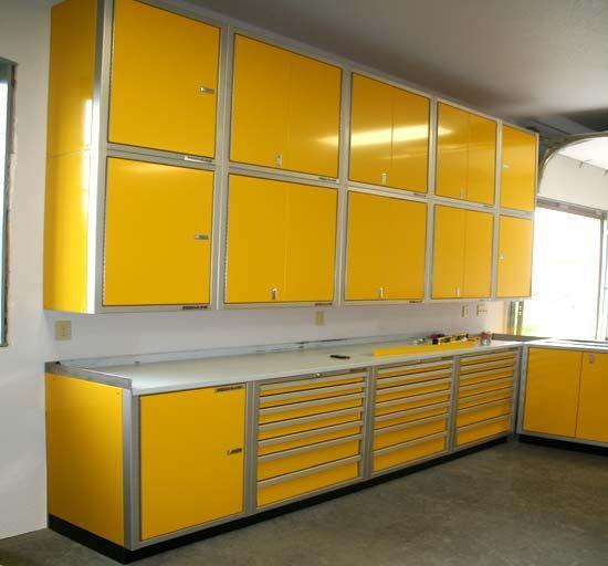 Moduline yellow aluminum garage storage cabinets | Garage Cabinets ...