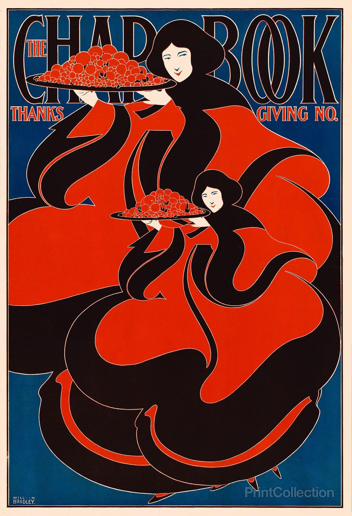 The Chap Book Thanksgiving Art Nouveau Poster Art Nouveau Illustration Vintage Poster Art