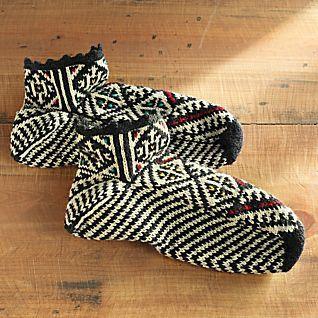 Hand-knit Bosnian Slipper Socks