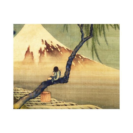 Hokusai Boy Viewing Mount Fuji Japanese Vintage Canvas Print | Walls
