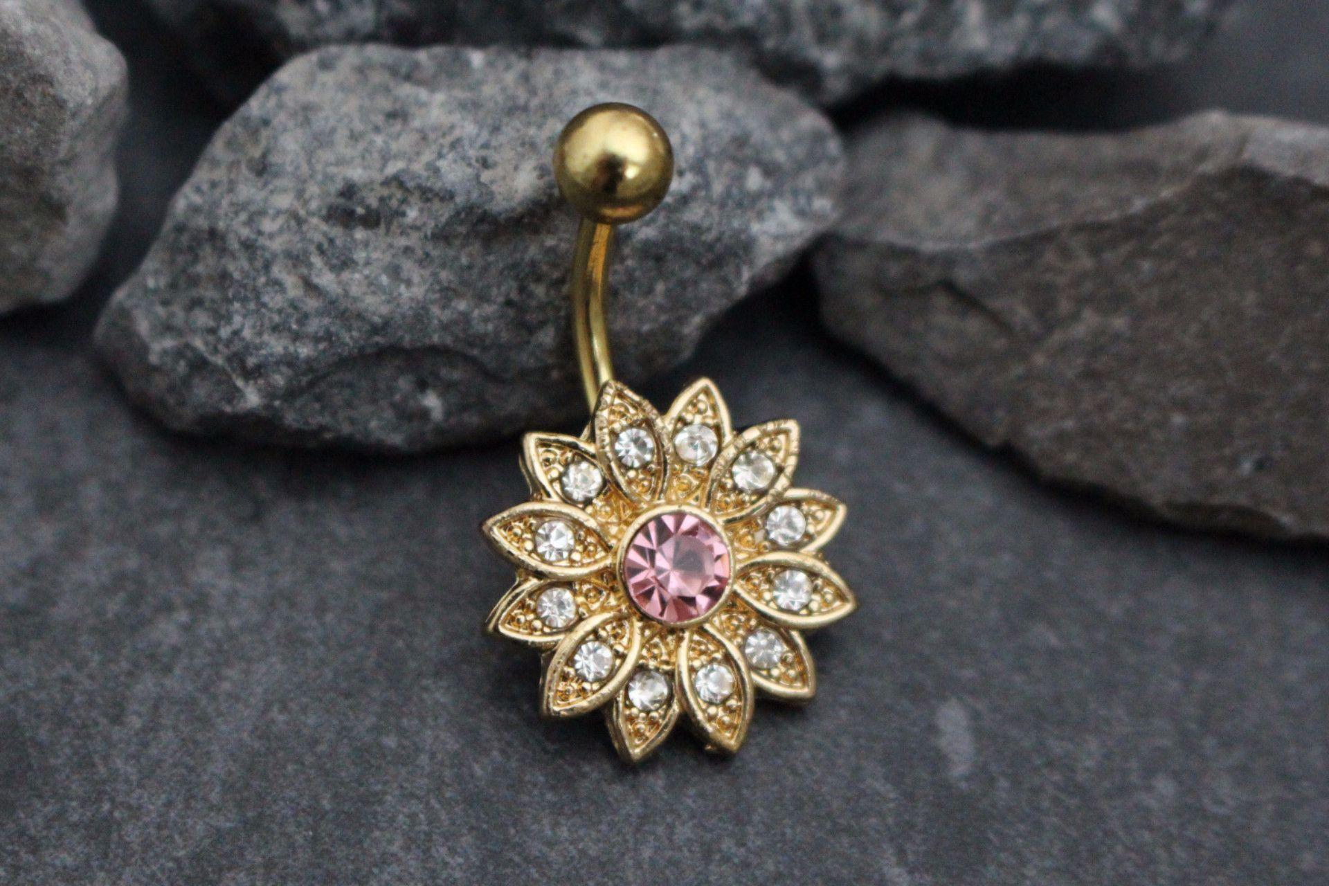 Belly button piercing stud  Petal Flower Belly Button Ring Stud  Trendy Jewelry  Pinterest