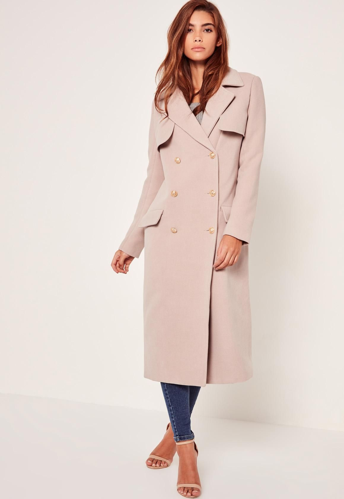 69512ffe6c LONGLINE FAUX WOOL MILITARY COAT NUDE