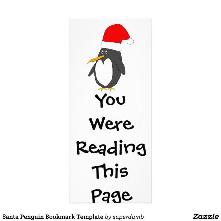 Santa Penguin Bookmark Template Rack Card Design Fun Classroom - penguin template