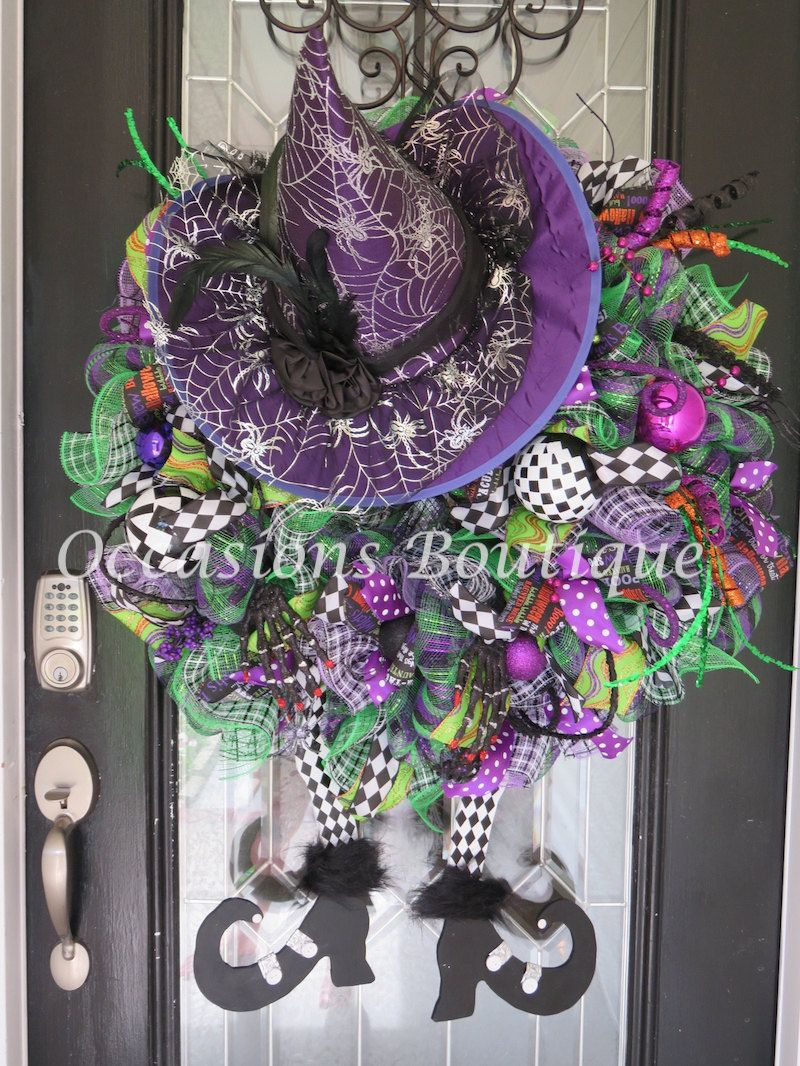 XL Halloween Wreath, Halloween Witch Wreath, Halloween Decoration - Front Door Halloween Decorations
