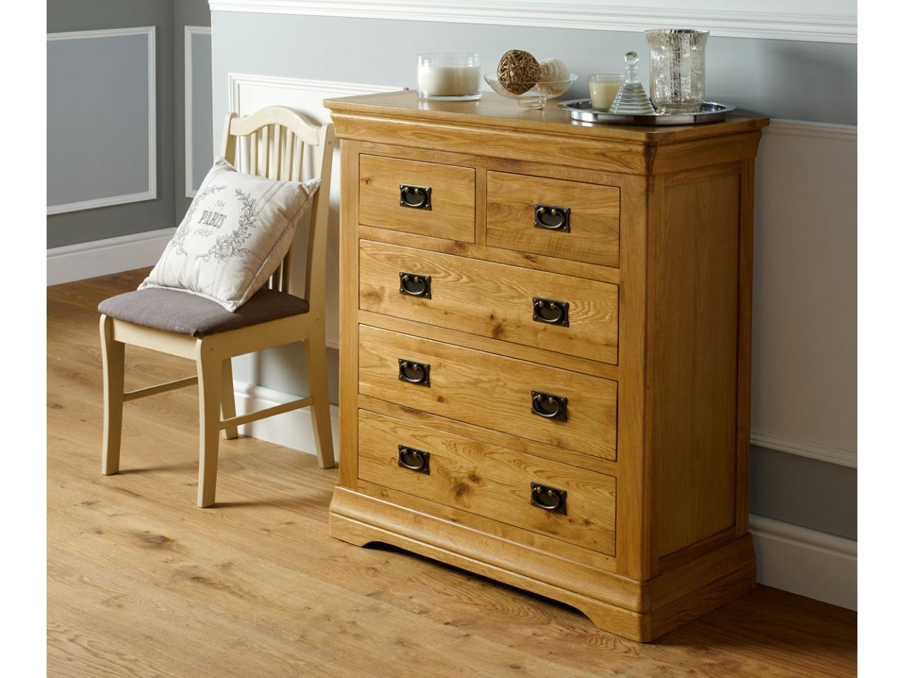 Farmhouse country oak 2 over 3 chest of drawers winter