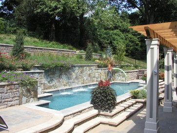Superior Hillside Pool, Terraced Retaining Walls, Lighting, Landscape,Ipe Good Ideas