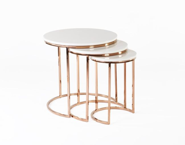 Ravenna Nesting Table In White And Rose Gold Marble Top End