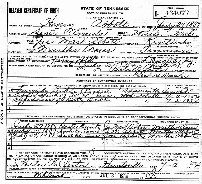 state birth certificate tennessee race memorial hospital record