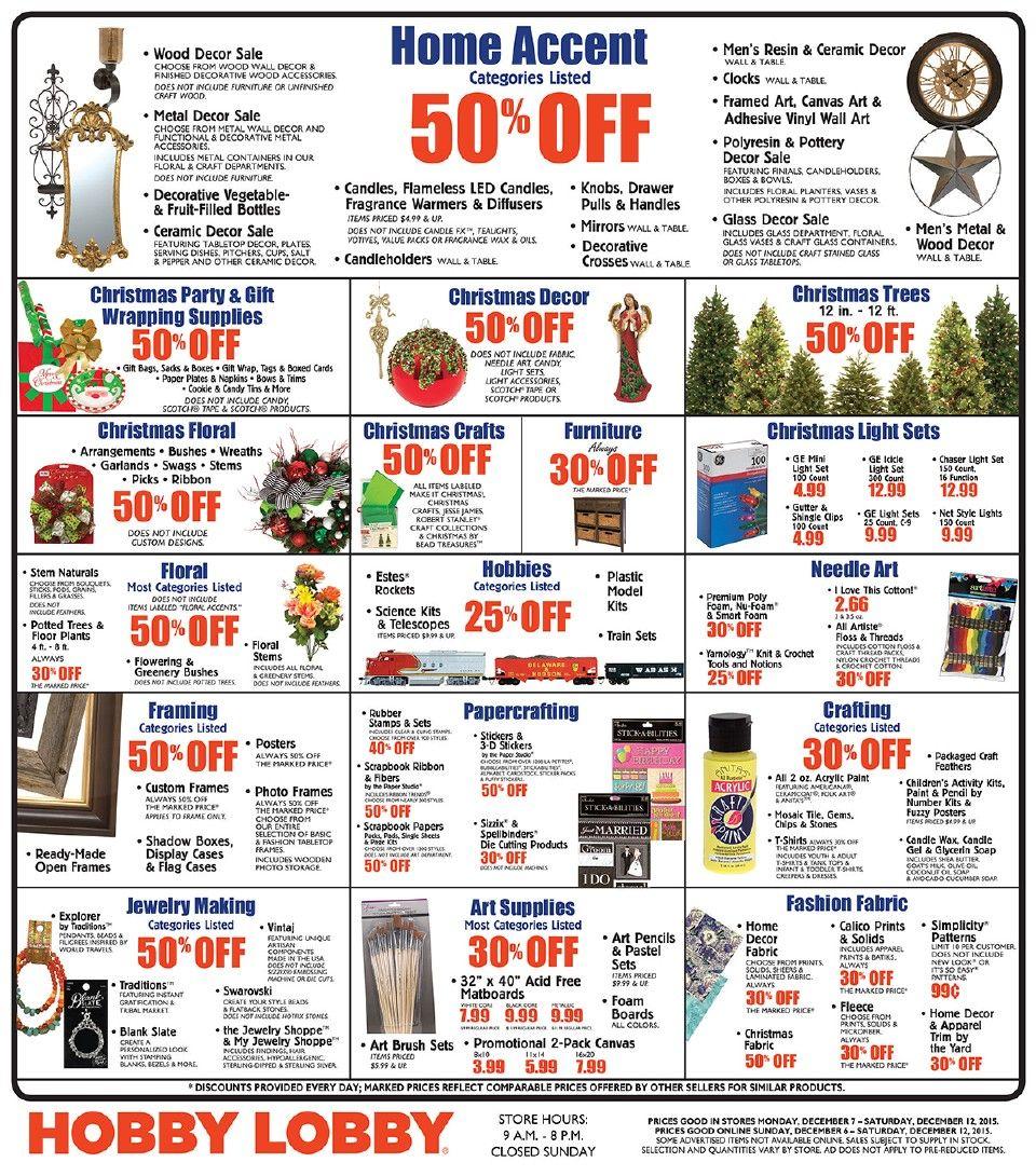 Hobby Lobby Weekly Ad November 30 December 5 2015 Weekly Ads And Circulars November 2015 Us Reta Hobby Lobby Weekly Ad Hobby Lobby Black Friday Weekly Ads