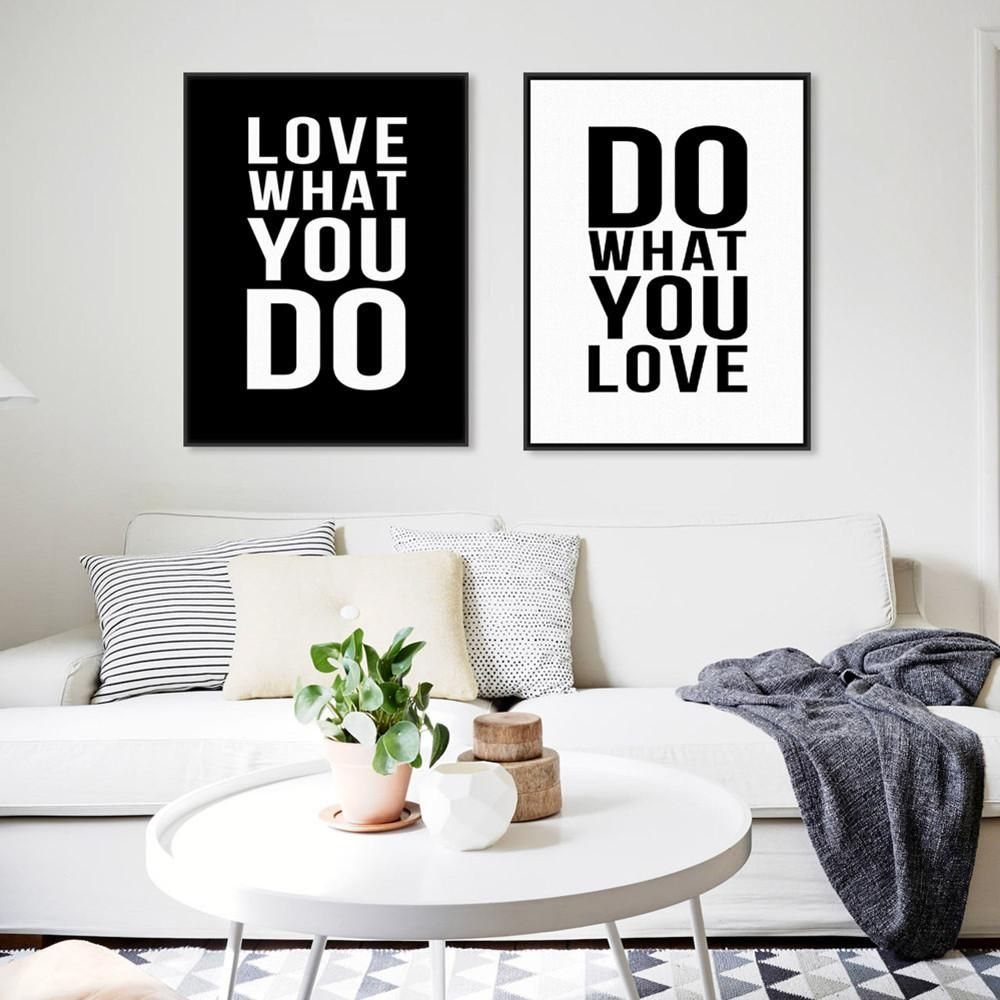 panel black white motivational love quotes poster print vintage