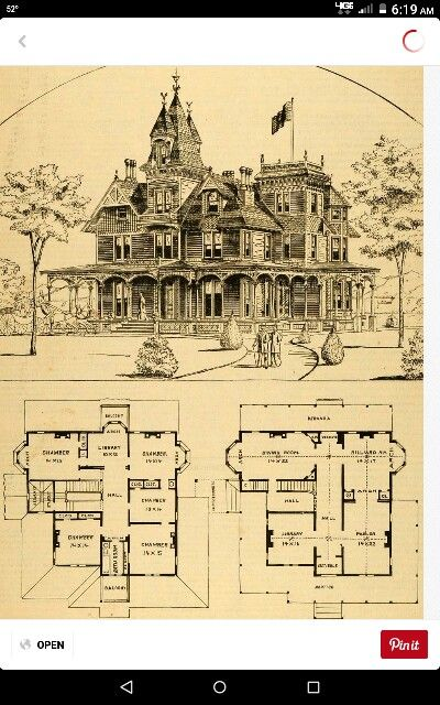 1879 Nayack Ny 3 Story Mansion Blueprint Victorian House Plans Victorian Homes Vintage House Plans