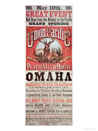Union Pacific Railroad Poster Advertising First Transcontinental Railroad Across The Usa C 1869 Giclee Print Art Com In 2021 Union Pacific Railroad Transcontinental Transportation Poster
